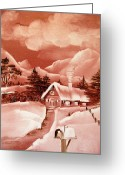 Original Ceramics Greeting Cards - 1140b Winter Scene Greeting Card by Wilma Manhardt