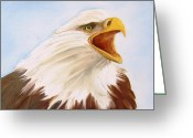 Original Ceramics Greeting Cards - 1148 b  Bold Eagle  2 Greeting Card by Wilma Manhardt