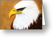 Original Ceramics Greeting Cards - 1150b  Bold Eagle  4 Greeting Card by Wilma Manhardt