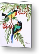 Original Ceramics Greeting Cards - 1152 Little Birds And Berries Greeting Card by Wilma Manhardt