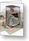 Armillary Greeting Cards - 11th Century Chinese Observatory Greeting Card by Photo Researchers