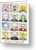 Bizet Greeting Cards - 12 French Composers Greeting Card by Paul Helm