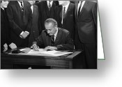 Civil Rights Greeting Cards - Lyndon Baines Johnson Greeting Card by Granger