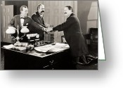 Handshake Greeting Cards - Silent Film Still: Offices Greeting Card by Granger