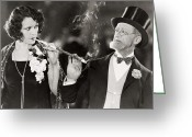 Cigarette Holder Greeting Cards - Silent Film Still: Smoking Greeting Card by Granger