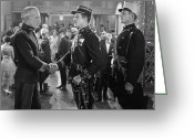 Handshake Greeting Cards - Silent Film Still: Uniforms Greeting Card by Granger