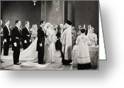 Tuxedo Greeting Cards - Silent Film Still: Wedding Greeting Card by Granger