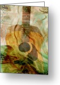 Musical Art Greeting Cards - 12 String Greeting Card by Linda Sannuti