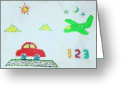 Primary Stars Greeting Cards - 123-for 3 Year Old Greeting Card by Farah Faizal