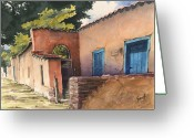 Santa Fe Greeting Cards - 1247 Agua Fria Street Greeting Card by Sam Sidders