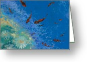 Fish Pond Painting Greeting Cards - 13 Pesciolini Rossi Greeting Card by Guido Borelli