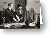 Autograph Greeting Cards - Silent Film Still: Offices Greeting Card by Granger