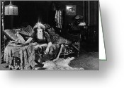 Smoker Greeting Cards - Silent Film Still: Smoking Greeting Card by Granger