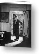 Tuxedo Greeting Cards - Silent Still: Single Man Greeting Card by Granger