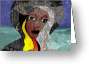 Pensive Greeting Cards - 131 - Oceanwalk in stormy Weather Greeting Card by Irmgard Schoendorf Welch