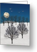 Winter Trees Greeting Cards - 1340 Greeting Card by Peter Holme III