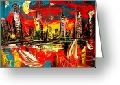 Sunset Framed Prints Painting Greeting Cards - City Greeting Card by Mark Kazav