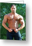 Male Physique Greeting Cards - Male Muscle Art Marius Greeting Card by Jake Hartz