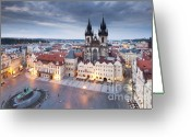 Clock Greeting Cards - Prague Old Town Square Greeting Card by Andre Goncalves
