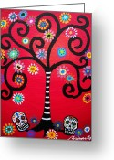 Cartera Greeting Cards - Dia De Los Muertos Greeting Card by Pristine Cartera Turkus