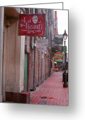 Street Greeting Cards - New Orleans - Bourbon Street Greeting Card by Frank Romeo