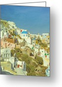 Lucky Greeting Cards - Oia - Santorini Greeting Card by Joana Kruse