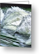 Gold Lame Painting Greeting Cards - Waterfall Greeting Card by Odon Czintos