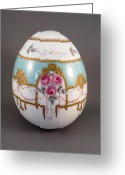Easter Ceramics Greeting Cards - 1503 Egg Faberge Style Greeting Card by Wilma Manhardt