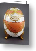 Easter Ceramics Greeting Cards - 1505 footed Egg Box yellow red  Greeting Card by Wilma Manhardt