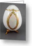 Easter Ceramics Greeting Cards - 1516 Egg with Luster and Raised Paste Gold Greeting Card by Wilma Manhardt