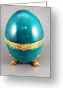 Easter Ceramics Greeting Cards - 1528 hinged Egg Box blue green Greeting Card by Wilma Manhardt