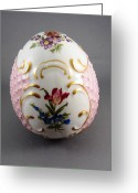Easter Ceramics Greeting Cards - 1532 German Porcelain Egg Dresden Style Greeting Card by Wilma Manhardt
