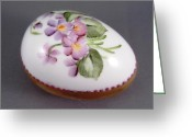 Easter Ceramics Greeting Cards - 1539 Egg with Violets and Goldetching Greeting Card by Wilma Manhardt