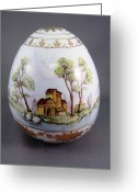 Easter Ceramics Greeting Cards - 1540 Egg with 3 European Scenes Greeting Card by Wilma Manhardt