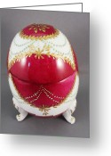 Dark Ceramics Greeting Cards - 1543 Footed Egg Box dark pink Greeting Card by Wilma Manhardt
