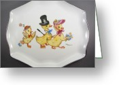 Easter Ceramics Greeting Cards - 1545 Easter Parade Tray Greeting Card by Wilma Manhardt