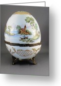 Easter Ceramics Greeting Cards - 1546 Hinged Egg-Box with 3 Scenes Greeting Card by Wilma Manhardt