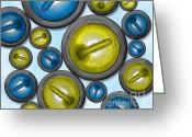 Hit Digital Art Greeting Cards - 16 Rocks Blue and Yellow Greeting Card by Chris Rhynas