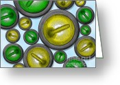 Hit Digital Art Greeting Cards - 16 Rocks Green and Yellow Greeting Card by Chris Rhynas