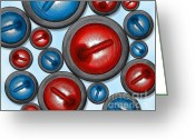 Hit Digital Art Greeting Cards - 16 Rocks Red and Blue Greeting Card by Chris Rhynas