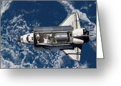 Space Travel Greeting Cards - Space Shuttle Discovery Greeting Card by Stocktrek Images