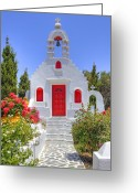 Church Greeting Cards - Mykonos Greeting Card by Joana Kruse