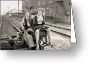 Railroad Track Greeting Cards - Silent Still: Man & Woman Greeting Card by Granger
