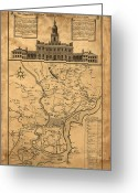 Independence Hall Greeting Cards - 1752 Philadelphia Map Greeting Card by Bill Cannon