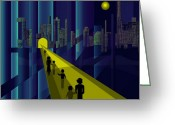 Little Boy Greeting Cards - 178 - Nightwalking to the golden city    Greeting Card by Irmgard Schoendorf Welch