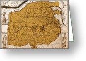 Old Map Photo Greeting Cards - 17th Century Map Of China Greeting Card by Photo Researchers