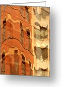 City Illusion Greeting Cards - Abstract Greeting Card by Tony Cordoza