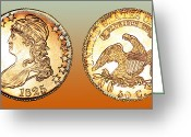 Eagle Prints Greeting Cards - 1825 Rainbow Capped Bust Half Dollar  Greeting Card by Jim Carrell