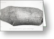 Mammoth. Greeting Cards - 1865 Carved Mammoth Tusk, Human Antiquity Greeting Card by Paul D Stewart