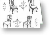 Anne Greeting Cards - 18th Century English Chairs Greeting Card by Adam Zebediah Joseph